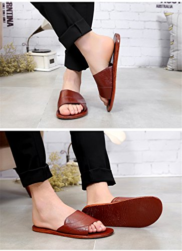 TELLW Corium Summer Spring Autumn Cowhide Leather Anti-Smelly Wooden Floor Slippers for Men Women Brown F bVii54rt