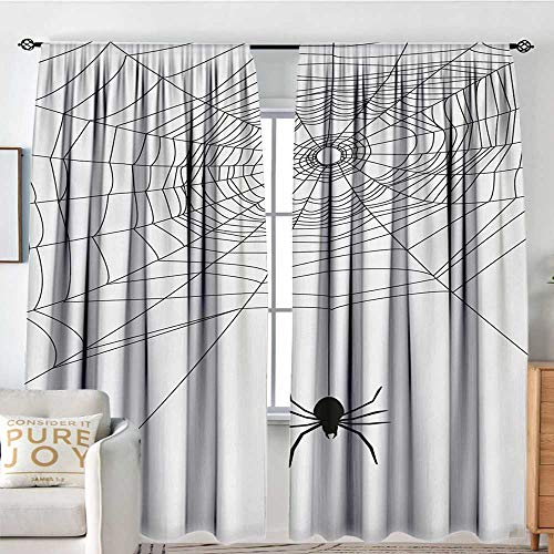Petpany Blackout Curtains for Bedroom Spider Web,Complex Doodle Net Sticky Gossamer Hunting Insect Catch Danger Prey Spooky,Black White,Thermal Insulated Darkening Panels for Cafe Windows 54