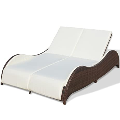 Festnight 2-Person Patio Rattan Sun Lounger Garden Daybed Chaise Lounger With Sturdy Steel Frame  sc 1 st  Amazon.com : daybed chaise - Sectionals, Sofas & Couches