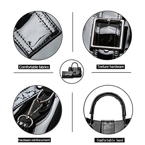 Bag Set Women's Black Chain Handbag Shiny for Shoulder Tisdaini Ladies Leather Black Crossbody Patent Bag qFvAnxdwZ