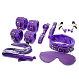 Adult Bondage Gear Under Bed Restraints Purple Bondage Kits Sex Collar and Leash, Blindfold, Mouth Gag, Hand & Ankle Cuffs, Nipple Clamps, Whip