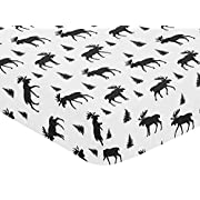Sweet Jojo Designs Black and White Woodland Moose Baby or Toddler Fitted Crib Sheet for Rustic Patch Collection