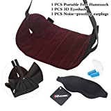 Travelmall Pack of 3 Travel Accessories Adjustable Foot Rest Stand Portable Feet Hammock flight Footrest 3D Sleeping goggle with Free Earplug