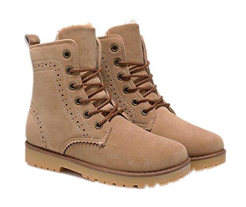 YINHAN? Unisex-adult Winter Oxfords Lace Up Short Cotton Boots Khaki 42 (Adult Unisex Short)