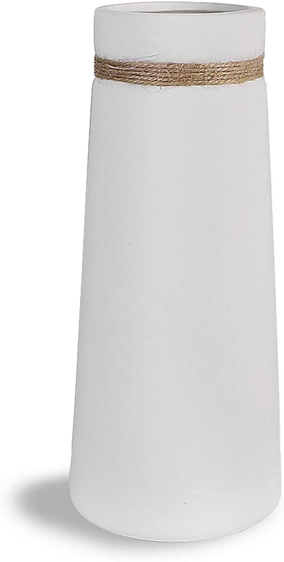 SANFERGE White Ceramic Vase with Differing Unique Rope, Flower Vase for Home Décor Office Decoration