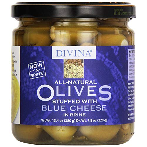 Divina Olives Stuffed With Blue Cheese in Brine, 7.8-Ounce Jars (Pack of 3)