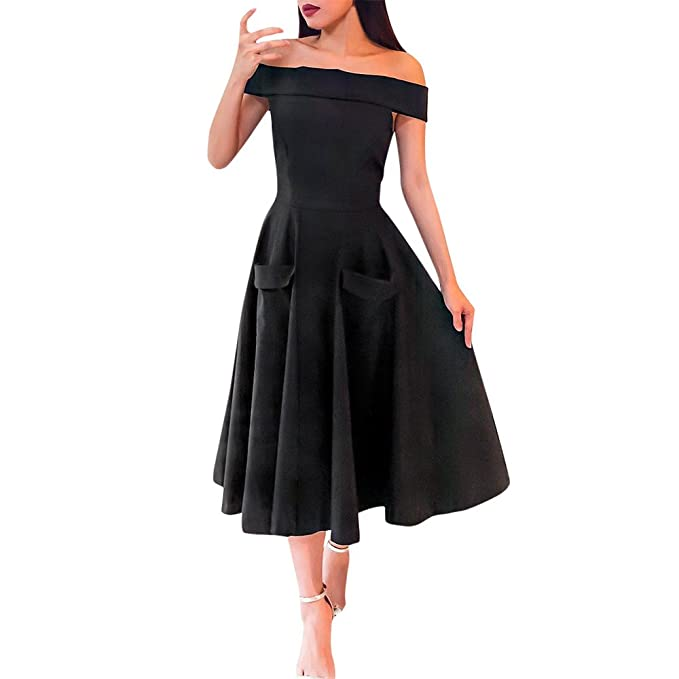 Vestidos Mujer Elegantes Vestidos Mujer Verano Vestido Mujer estido De Fiesta Color SóLido del Hombro Descubiertos