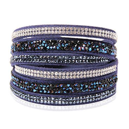 RIAH FASHION Bohemian Faux Suede Leather Wrap Multi Layer Bracelet - Boho Wrist Adjustable Cuff Bangle Crystal Rhinestone/Bead Embellishment (Crystal Mosaic - Montana Blue) - Montana Blue Crystal