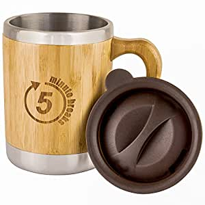 Insulated Bamboo Coffee Tea Mug - with Lid, made of Stainless Steel and Bamboo – capacity of 9,5 oz. Ideal for the Car, the Office, Travel, Outdoors. Eco friendly and BPA free. By 5 minute breaks-