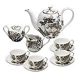 Grace Teaware 11-Piece Porcelain Tea Set (Black Peony)