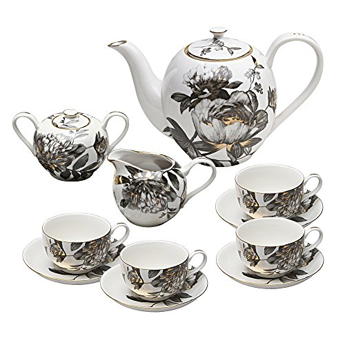 (Grace Teaware 11-Piece Porcelain Tea Set (Black Peony))