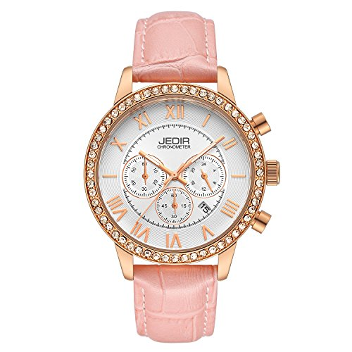 (SOAO Women Quartz Watches Wrist Watch Pink Genuine Leather Band Waterproof Chronograph Watch For Girls Female)