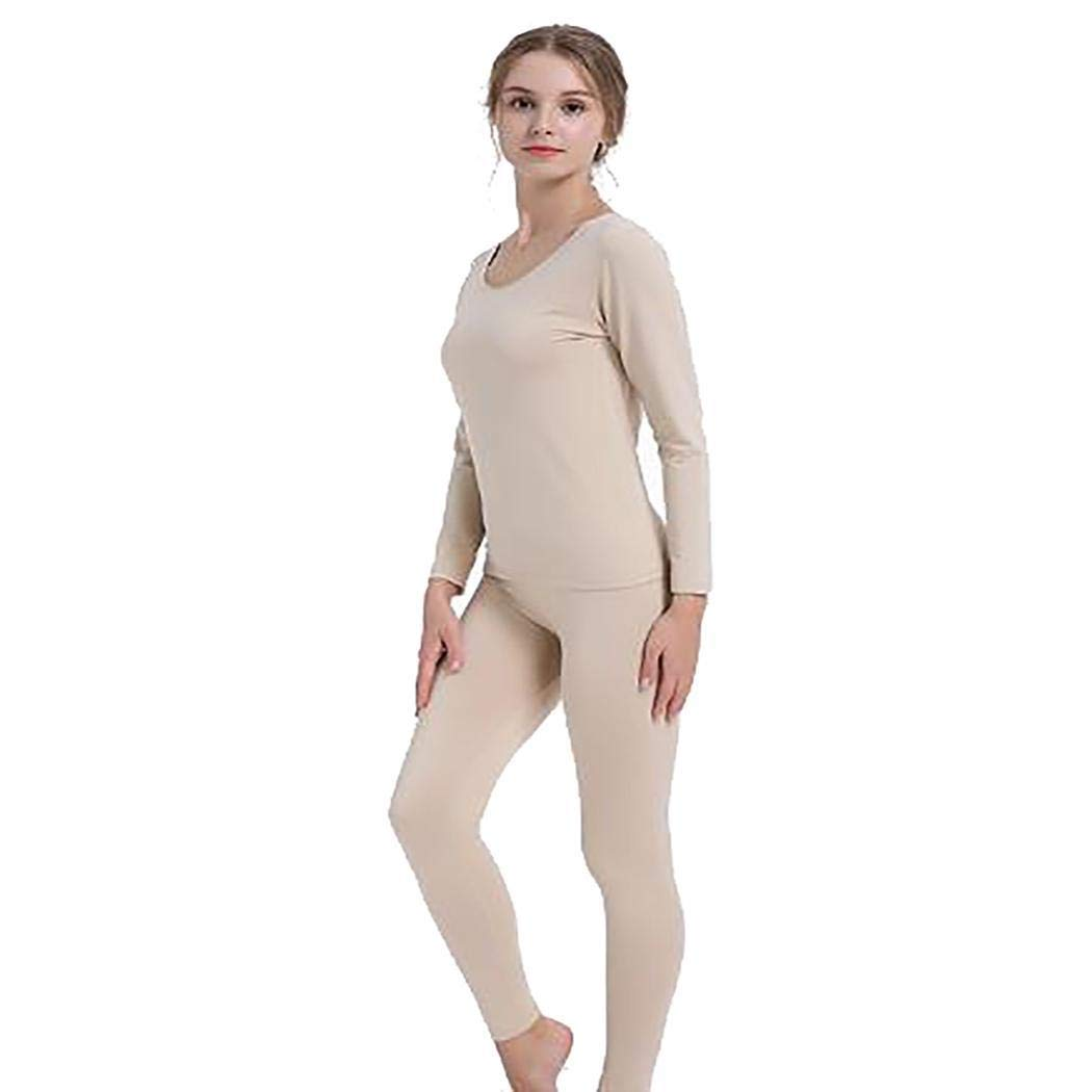 Women Casual Soft O-Neck Long Sleeve Solid Slim Thermal Underwear Set Sets Nude by fukjem