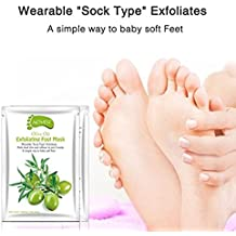 2 Pairs Foot Peel Mask, Get Soft Feet in 1-2 Weeks Papaya/Avocado/Olives, Exfoliating Calluses and Dead Skin Remover by LeSB Beauty (Olives)