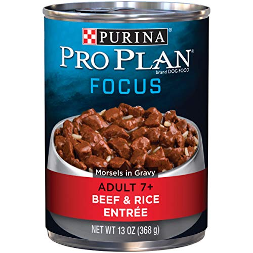 Purina Pro Plan Senior Gravy Wet Dog Food; FOCUS Morsels in Gravy Beef & Rice Entree - 13 oz. Can (pack of 12)