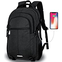 Tocode Laptop Backpack,Travel Backpacks for Men Water Resistant Backpack with USB Charging Port Large Multi-Compartments Student School Backpack Fits 15.6 inch Laptop and Notebook -Black