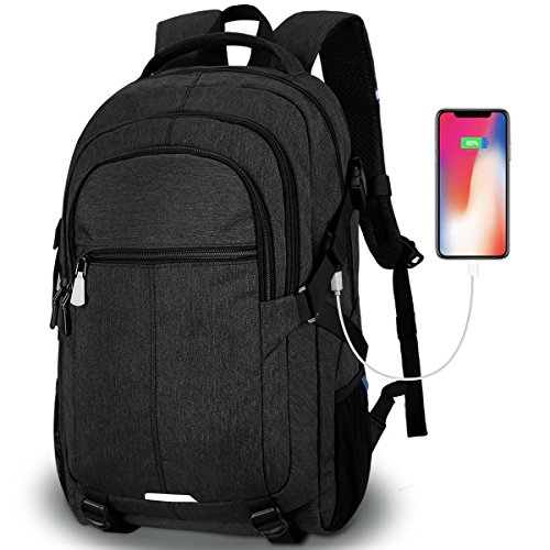 Tocode Laptop Backpack,Travel Backpacks for Men Water Resistant Backpack with USB Charging Port Large Multi-Compartments Student School Backpack Fits 15.6 inch Laptop and Notebook -Black -