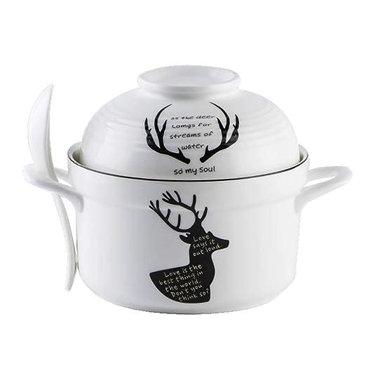 Cuenco de cerámica para fideos instantáneo con tapa, horno de ...