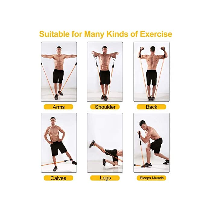 51XoycqMF3L 💪【Cinco niveles elasticos fitness musculacion diferentes】10LSB, 20LSB, 30LSB, 40LSB, 50LSB, bandas de resistencia multifuncional con cinco niveles diferentes de tubo de tensión, se puede utilizar para el entrenamiento de cuerpo completo. Cada banda de resistencia tiene un color diferente, puede identificar inmediatamente por color. También puede usarlo en cualquier combinación y cambiar los métodos de entrenamiento regulares para que su entrenamiento sea más interesante. 💪【Adecuado para todas las personas】Si usted es un hombre o una mujer, un principiante en acondicionamiento físico o un atleta profesional, puede usar estas bandas de resistencia fitness para el yoga, varios ejercicios musculares y cuerpo recuperarse son también muy efectivos. Puede entrenar los músculos abdominales, los hombros, los músculos pectorales, los músculos de los brazos y otras partes para satisfacer sus necesidades de entrenamiento. 💪【Uso de alta látex bandas de resistencia difícil de romper】Bandas elasticas musculacion con material de látex natural con selección estándar internacional. En comparación con los productos plásticos ordinarios, bandas de resistencia tiene mejor resistencia a la tracción y fuerza de tracción uniforme, a prueba de insectos, no es fácil de envejecer, es más ecológico y tiene una vida útil más larga. Acompañantes para su seguridad.