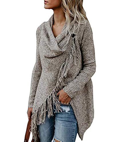 sadness n Women's Long Sleeve Speckled Fringe Open Front Cardigan Sweaters for Women(Khaki X-Large)]()