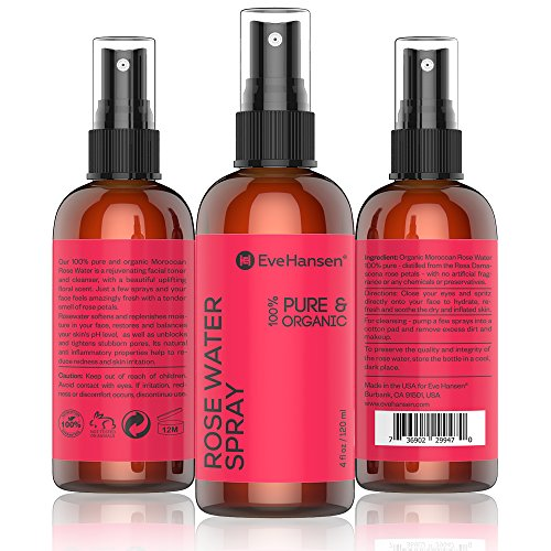 ORGANIC ROSE WATER SPRAY - 100% Pure & Natural Facial Toner with Uplifting Floral Scent. A few sprays & your face feels amazingly fresh with tender smell of roses! 4oz