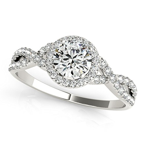 MauliJewels 0.50 Carat Halo Diamond Engagement Ring 14K Solid White Gold