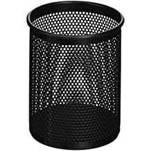 "Comix 4.1"" Height Metal Pen and Pencil Holder, Oval Shaped, Wired Mesh Design, Durable Metal - Black (B2002BK)"