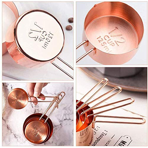 Measuring Cups and Spoons Set, 8 PCS Stainless Steel Rose Gold Measuring Cups & Spoons with Engraved Marking Ruler Measuring Dry andLiquid Ingredients for Baking Cooking, Mixing and Food Processing