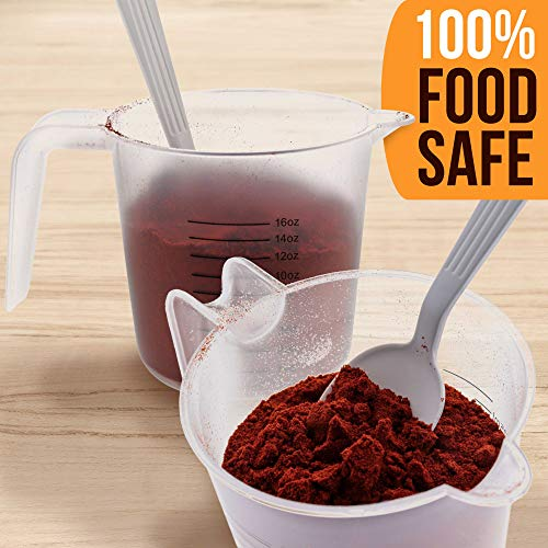 U.S. Kitchen Supply - 16 oz (500 ml) Plastic Graduated Measuring Cups with Pitcher Handles (Pack of 6) - 2 Cup Capacity, Ounce and ML Cup Markings - Measure & Mix Recipe Ingredients, Flour, Water, Oil
