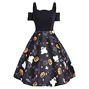 KENANCY Women Vintage Halloween Dress Cold Shoulder Short Sleeve Pumpkin Print A-Line Flared Swing Dress