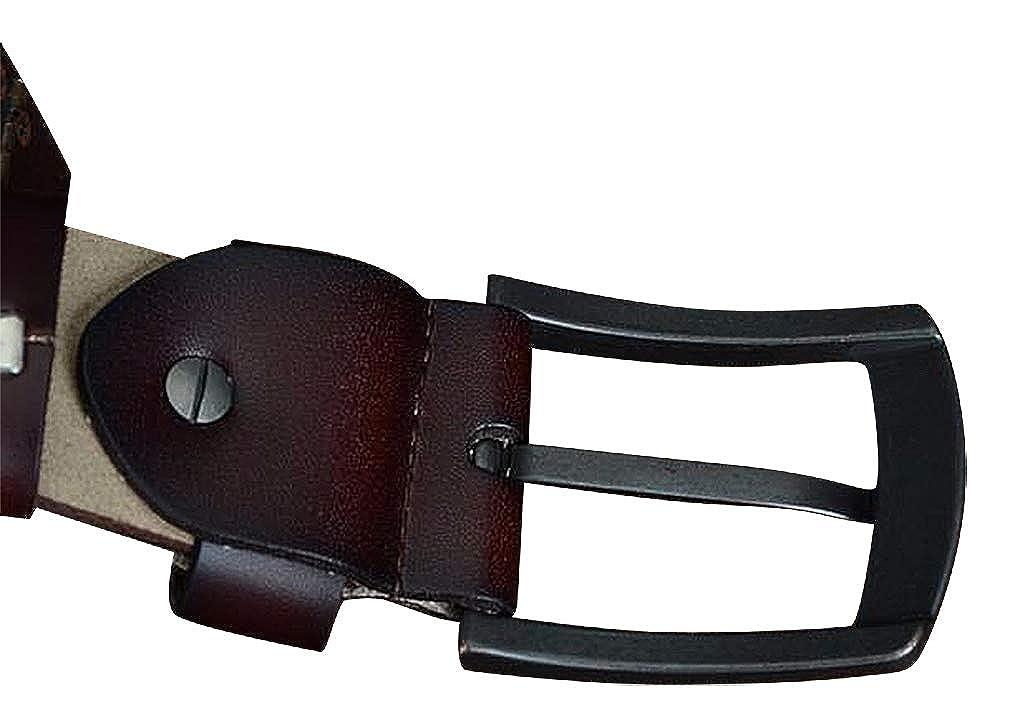 Celino Men Black Stitch Genuine Cowskin 1.38 Wide Automatic Alloy Buckle Belt