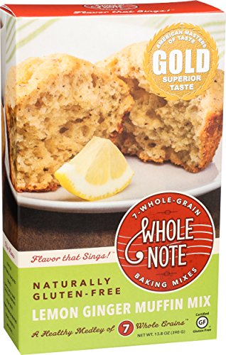 Whole Note 7-Whole-Grain, Lemon Ginger Muffin Mix, Naturally Gluten-Free (Pack of 3) -