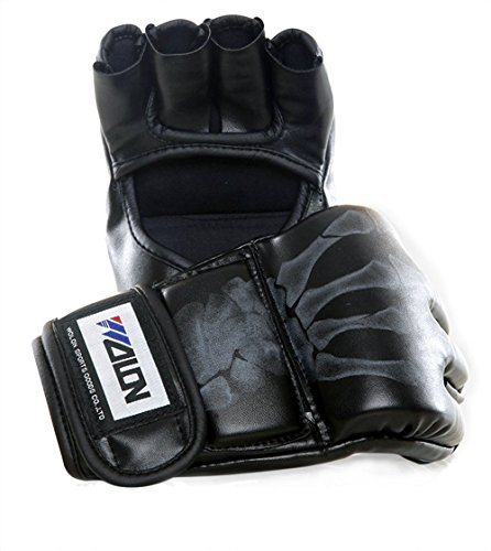 soled Half Finger Boxing Gloves Sanda Fighting Sandbag Gloves MMA UFC(Black with skull fingers)