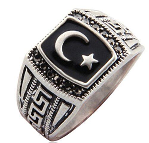 Islamic Antique (AccessCube Unisex Antique Silver Color Muslim Moon & Star Allah Ring Muhammed Muslim Islamic Arabic Ring (9))