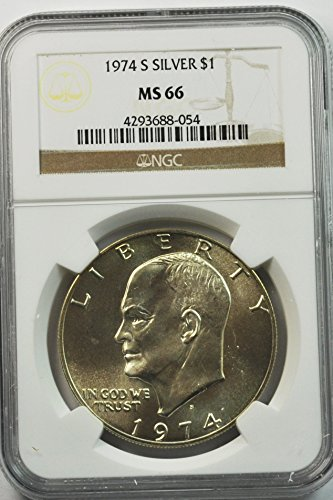 1974 S Eisenhower Silver Dollar 40% Silver San Francisco $1 MS66 NGC