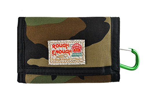 Rough Enough Multi-function CORDURA Classic Simple Basics Slim Small Mini Trifold Portable Wallet Purse Holder Organizer with Zipper for Kids Boys Men Sports Outdoors Home Use Plain,Camo
