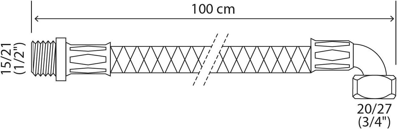 - raccord M/âle 15//21 DN8 1//2 Flexible sanitaire raccordement /écrou tournant coud/é Femelle 20//27 SOMATHERM FOR YOU 3//4 - Longueur 100 cm
