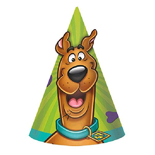 Amscan Awesome Scooby-Doo Birthday Party Cone Hats favor (Pack of 8), Multicolor, 6