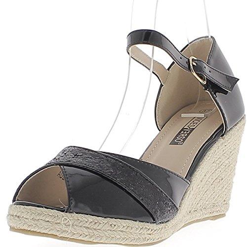 Zapatillas de cuña negro a tacones de 8cm con reborde ancho con lentejuelas