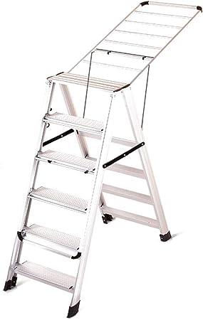 CXLO Tendedero Escalera 6 peldaños 2 en 1 Aleación de Aluminio Resbalón Grueso No se oxida Taburete de Trabajo, Perfil Multifuncional Estante de Secado de Ropa, Peso del rodamiento 150kg: Amazon.es: Hogar