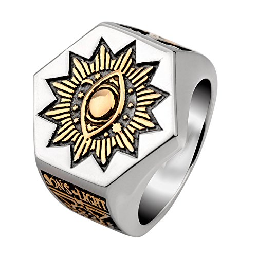 Men's Sun Devil Eyes hexagon Masonic Stainless steel Freemason Totem Ring (11)