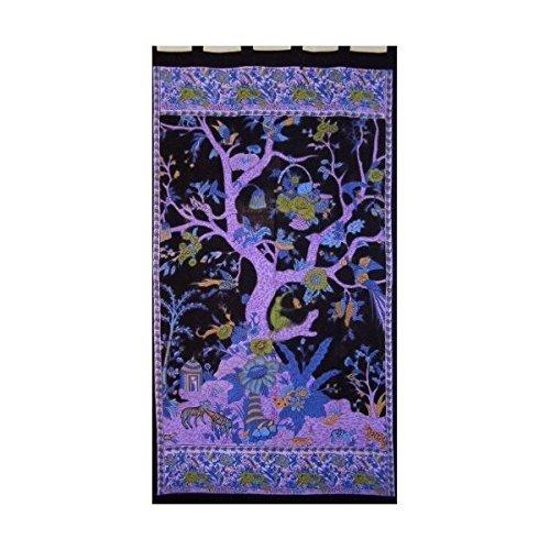 Tree of Life Tab Top Curtain-Drape-Door Panel-Black/Purple
