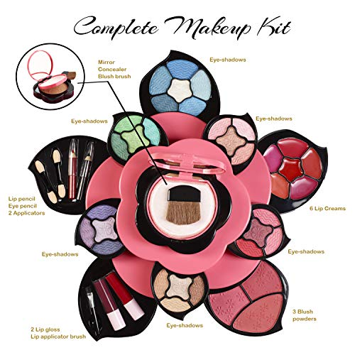 Makeup Kits for Teens – Flower Make Up Pallete Gift Set for Teen Girls and Women – Petals Expand to 3 Tiers -Variety…