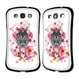 Official Monika Strigel Wolf Animals And Flowers Hybrid Case for Samsung Galaxy S3 III I9300