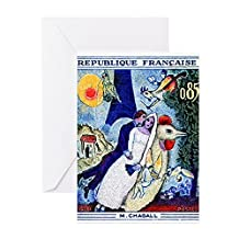 CafePress - 1963 France Les Fiancees Chagall Painting Stamp Gr - Greeting Card, Note Card with Blank Inside Matte