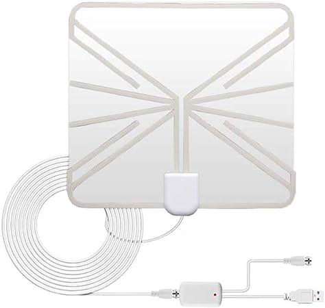 Antena TV Interior, Antena TV l HDTV Digital con Amplificador de señal Inteligente para Canales de TV 1080P gratuitos para,con Cable coaxial de 4 M: Amazon.es: Hogar