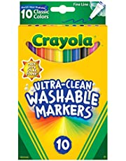CRAYOLA 58-7852 10ct Ultra-Clean Fineline Markers ,washable, detail drawing, pens, colouring, fun, gifts, education, project, booklist, classroom, school, non toxic