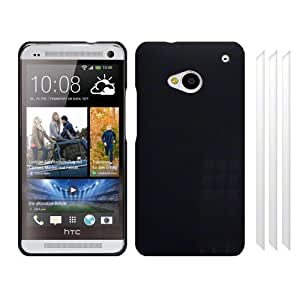 RT-TRADING–HTC One M7Rubber Funda Carcasa Hard Case Cover en color negro + 3x Protector de pantalla