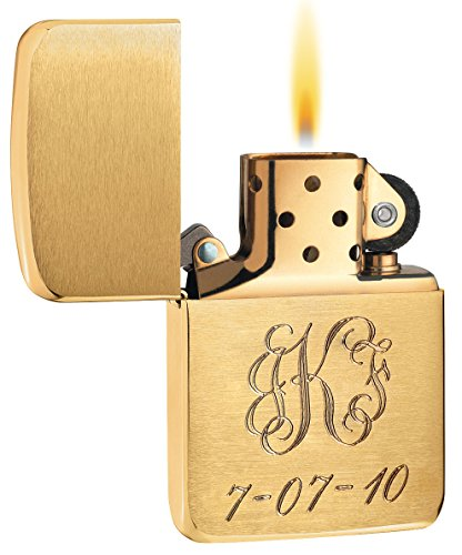Zippo Brushed Brass - Personalized 1941 style Brushed Brass Zippo Lighter - Free Engraving