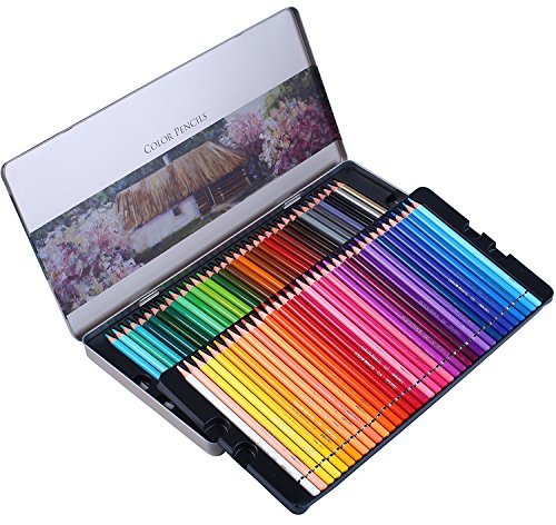 Colored Pencils Professional 72 Colored Pencil Set for Adult Coloring Books - Premium Art coloring pencils kit with Vibrant color- Perfect Holiday Gifts for Artist Drawing - Oil based Soft Core ()